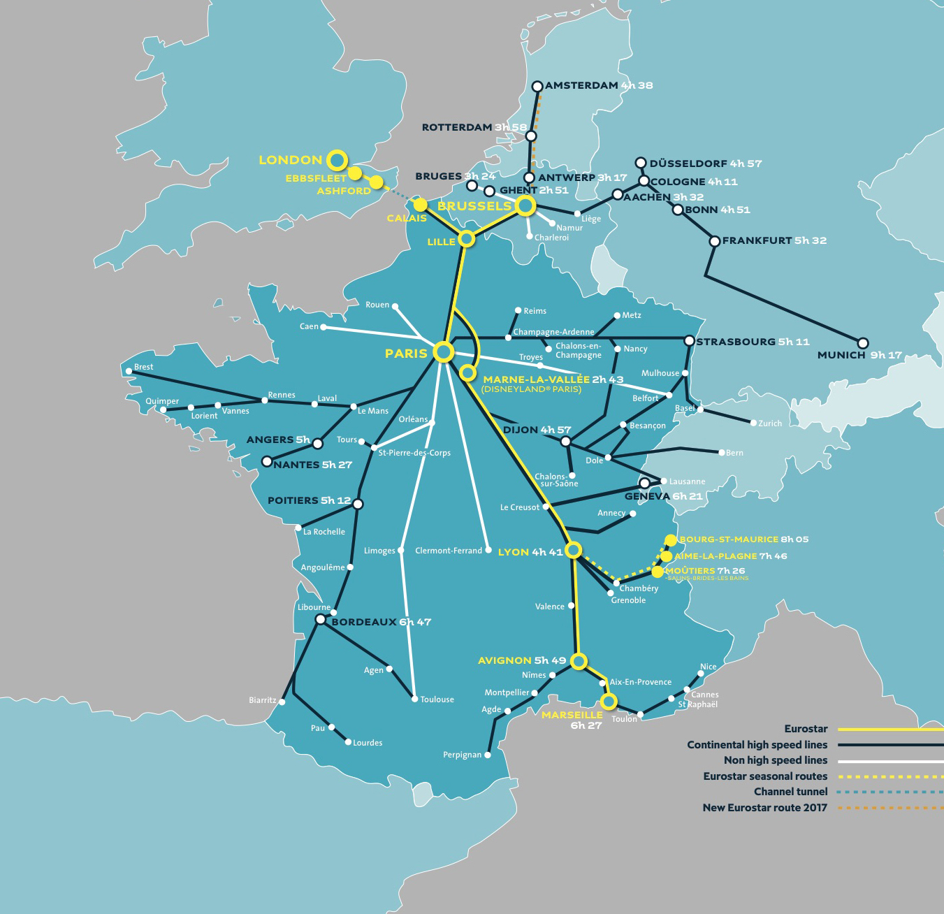 Eurostar Train Destinations Map